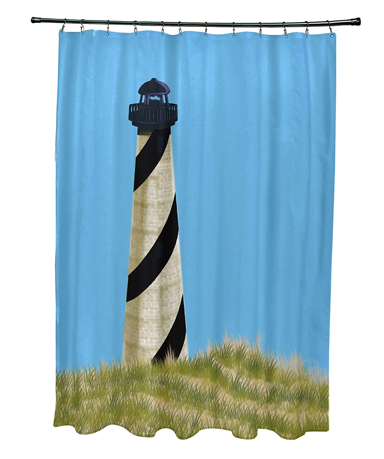 Geometric Print Shower Curtain Blue E by design SCGN440BL23 OuterBanks