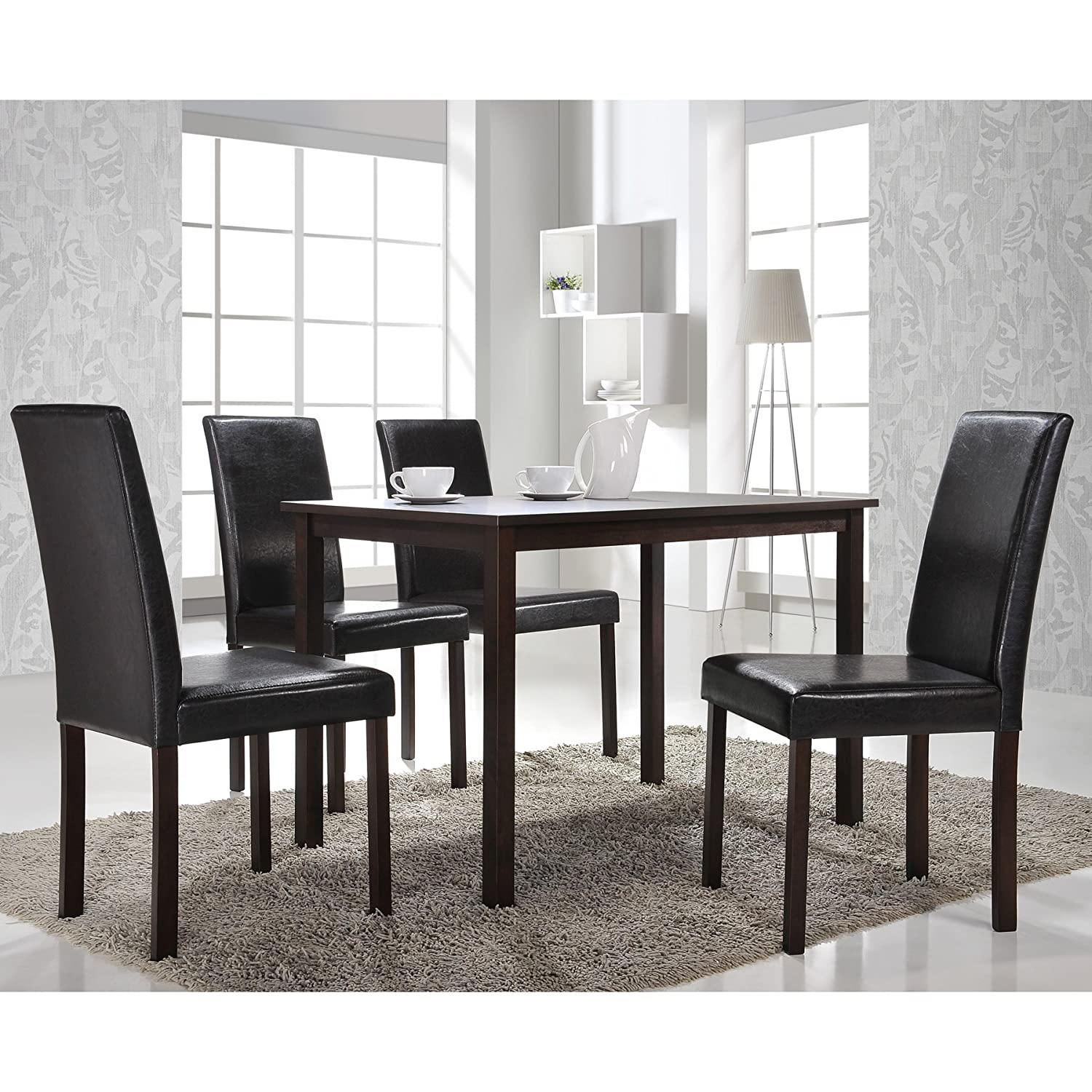 Amazon Baxton Studio 5 Piece Andrew Modern Dining Set