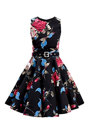 BlackButterfly Niñas Audrey Vestido Vintage Años 50 Joy: Amazon ...