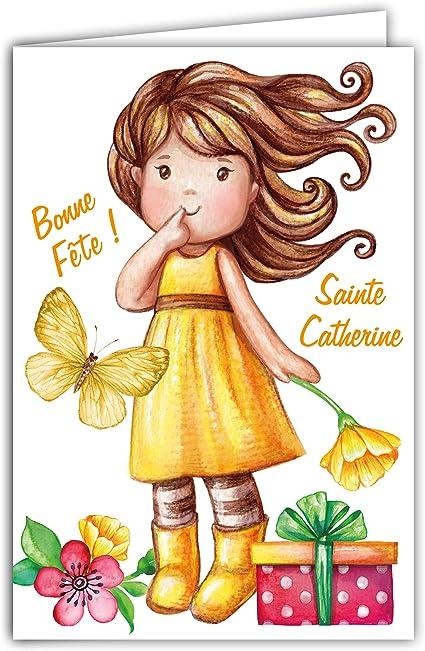 68 1097 A Carte Bonne Fete De Sainte Catherine 25 Novembre Petite Fille Sage Fleurs Papillon Cadeau Mignon Tendre Message Jeune Amazon Fr Fournitures De Bureau