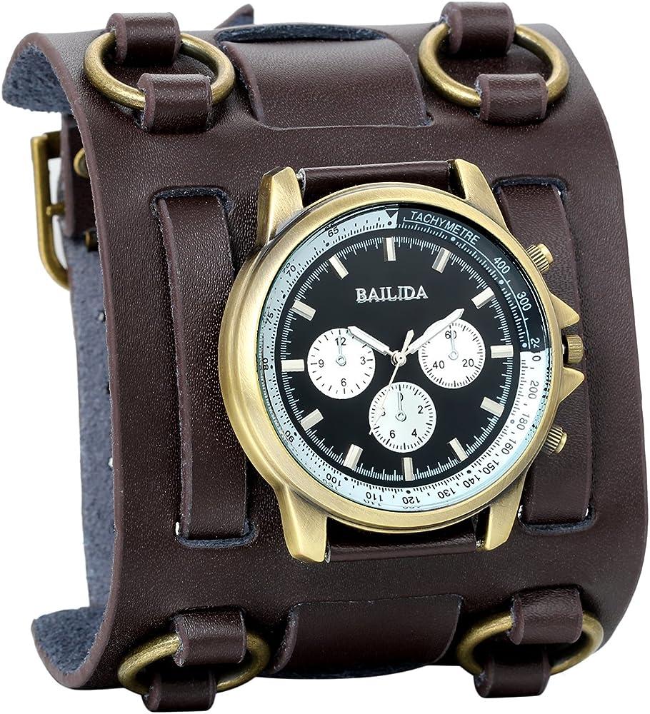 grandes ofertas en moda venta profesional gama exclusiva Avaner Reloj de Pulsera Grande Hip Hop para Hombre, Reloj de Cuero Correa  Ancha de Estilo Piloto, Marron Bronce Reloj Original Regalo para Hombres