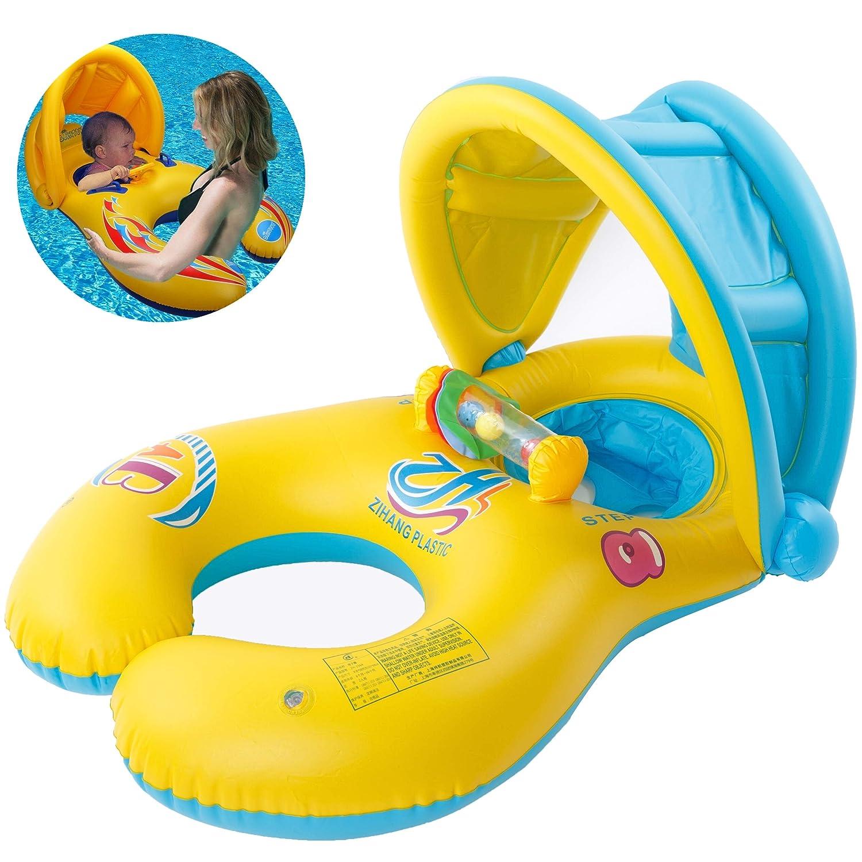 Inflable Anillo de Natación para Madre y Bebé con Sombrilla Desprendible, Flotador Hinchable de Piscina para Niño con Asiento, Inflable Juguetes 0-3 ...