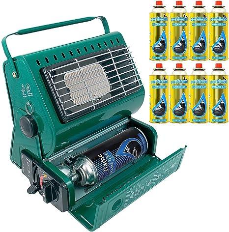 Calefactor de gas portátil para exterior, ideal para pesca y camping, 1,3 kW, de gas butano, compacto y ligero + 8 recambios de gas