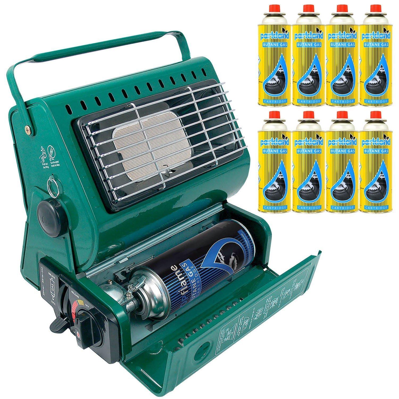 Calefactor de gas portátil para exterior, ideal para pesca y camping, 1,3 kW, de gas butano, compacto y ligero + 8 recambios de gas: Amazon.es: Jardín