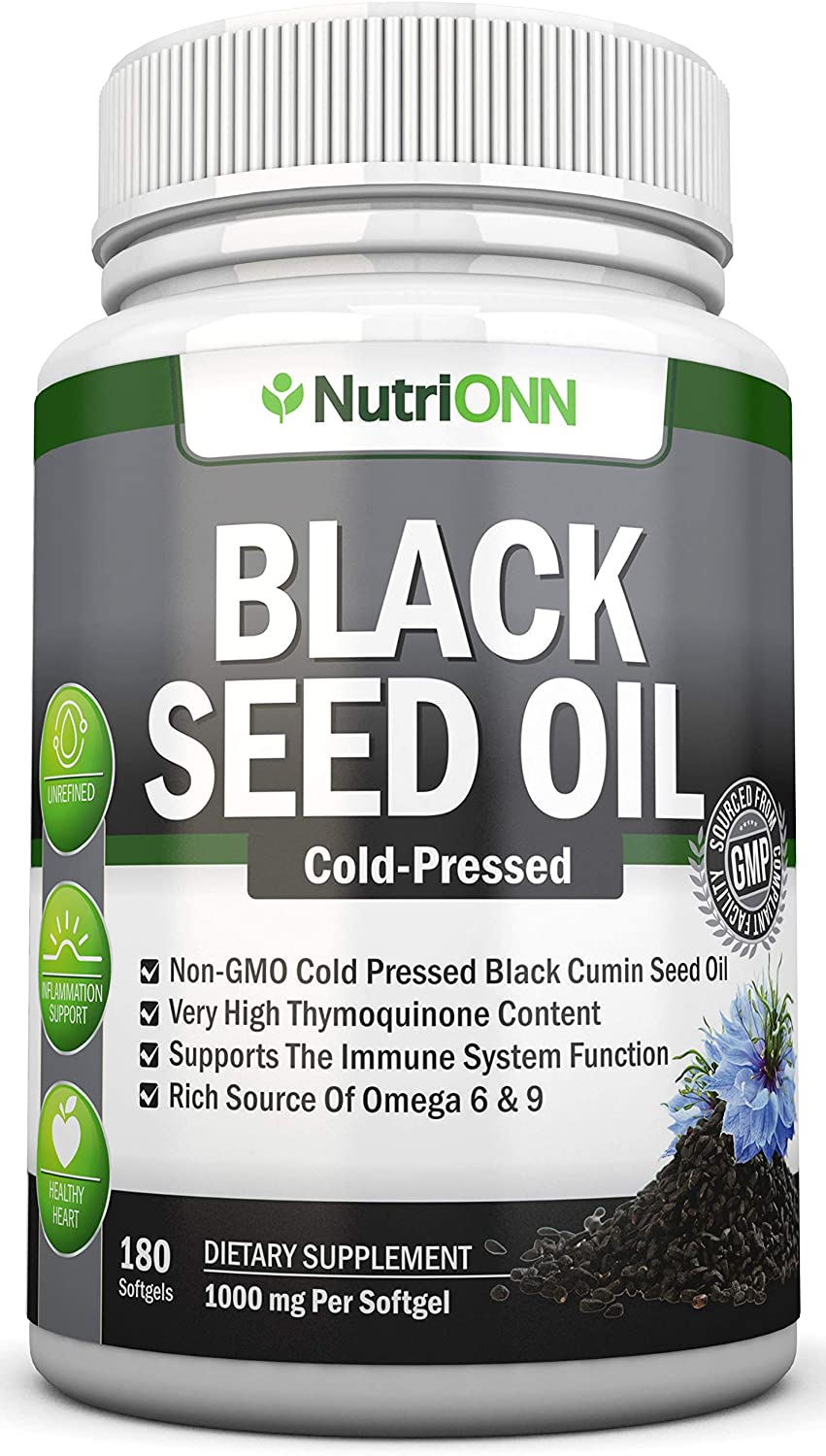 Black Seed Oil - 1000 Mg - 180 Softgels - Cold-Pressed Non-GMO Black Cumin Seed Capsules - Super High Thymoquinone Content - Nigella Sativa - Rich in Omega 6 & 9 Fatty Acids - Immune & Joint Support