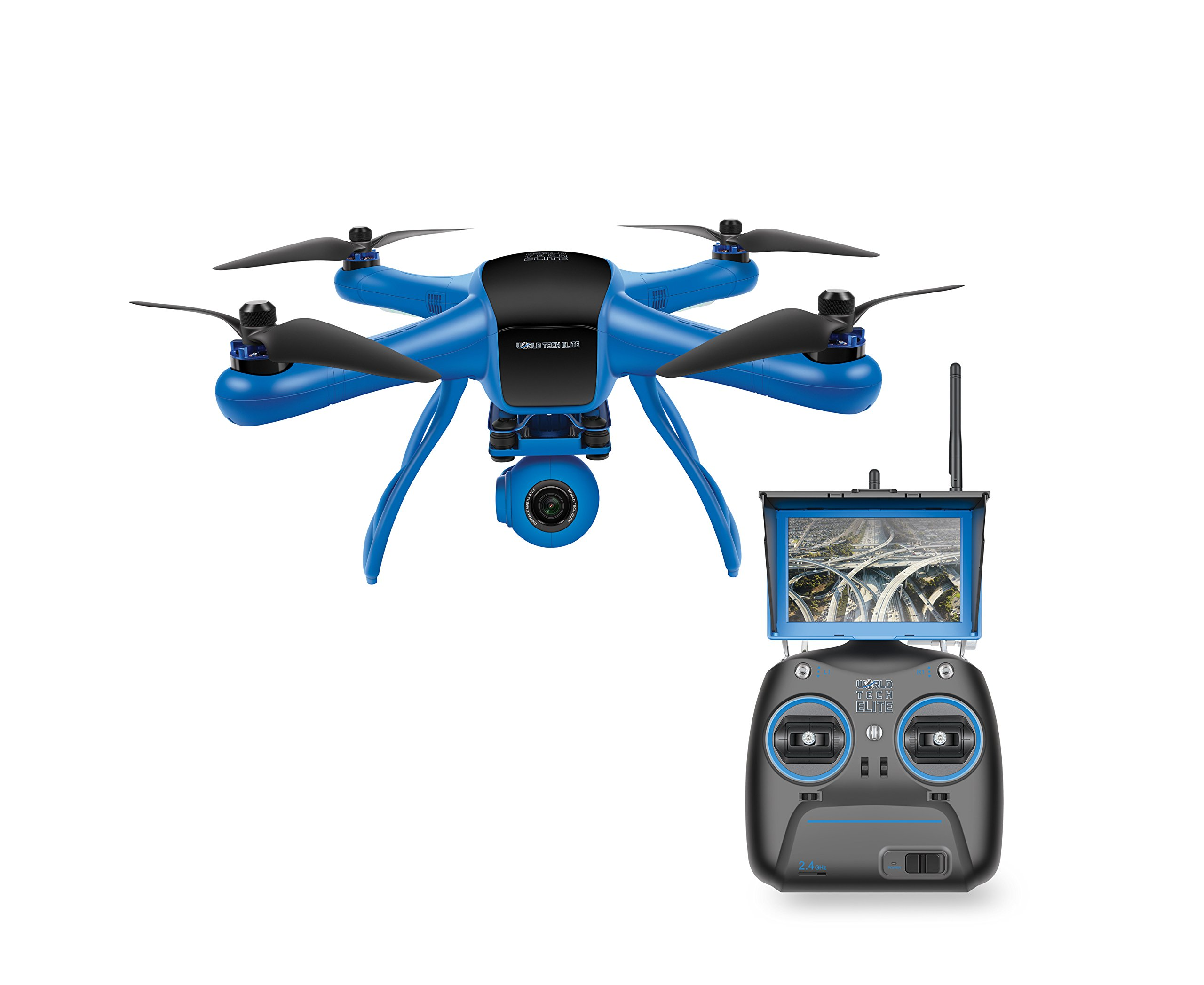 World Tech Toys Elite Raptor HD Gimbal Video Camera 2.4GHz 4.5 Channel RC Quadcopter, Blue/Black, 12.5 x 12.5 x 7.25