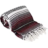 Canyon Creek Authentic Mexican Yoga Falsa Blanket (Burgundy)