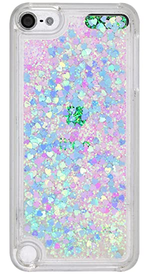 best sneakers aad48 0b8f0 iPod Touch 6 Case, iPod Touch 5 Case,Glitter Liquid Quicksand Bling Twinkle  Floating Flowing Moving Shiny Heart Sparkle Hard PC Case for Apple iPod ...