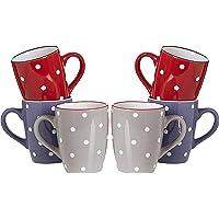 Ritzenhoff & Breker Juego de 6 tazas de café de 300 ml, diseño de lunares, vajilla de cerámica, varios colores, 1…