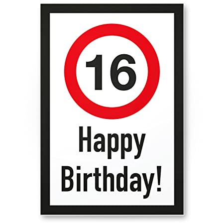 DankeDir!. 16 años Happy Birthday – Letrero plástico Regalo 16. Cumpleaños, Regalo Idea Regalo de cumpleaños Decimosexto, cumpleaños ...