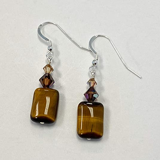 Genuine Tiger Eye and Pearl Earrings 925 Sterling Silver Dangle Drop 7ct New