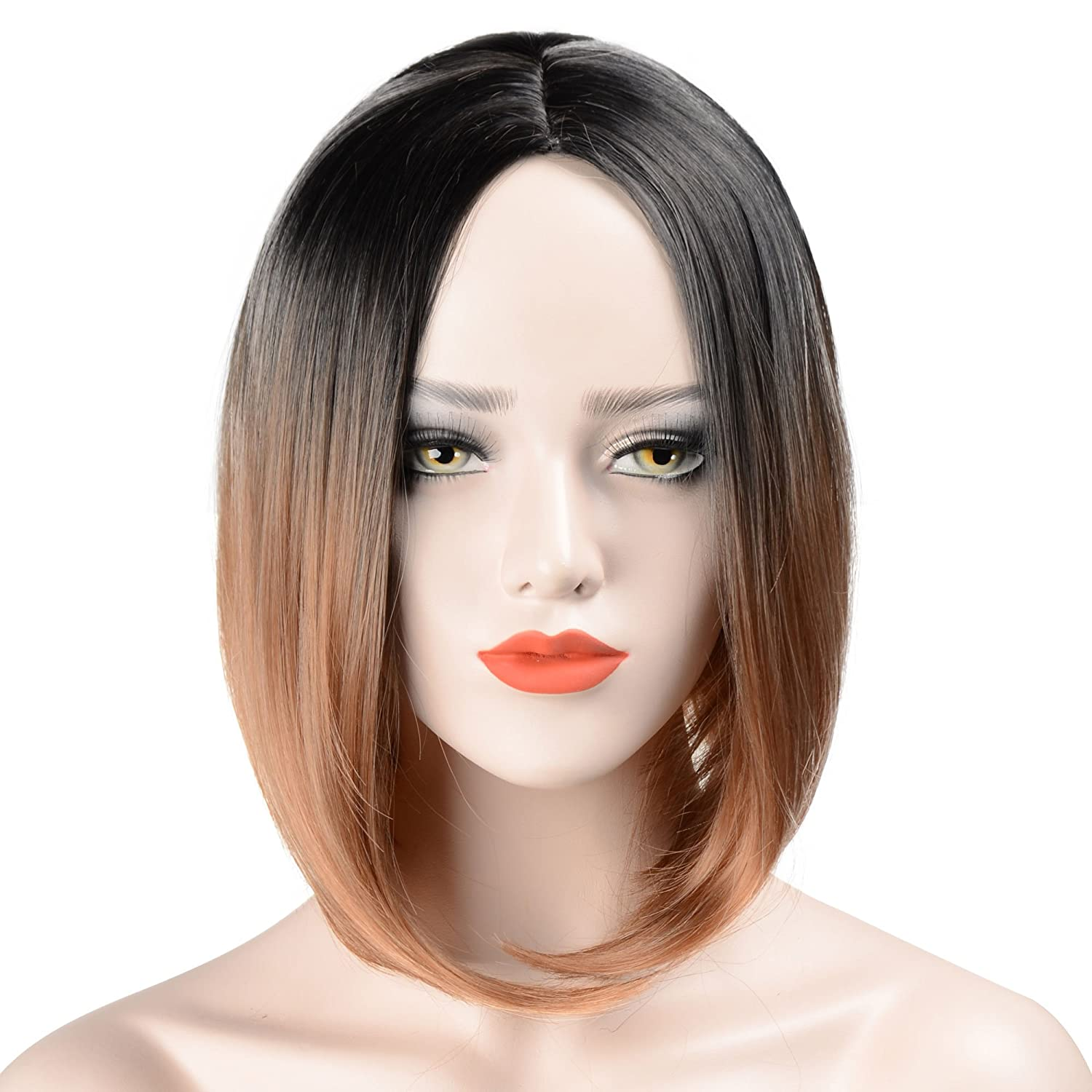 Hawkko Wigs For Black Women Bob Straight Hair Natural Looking Short Ombre Wigs Synthetic Hair Fashion Heat Resistant Full Head(Black/Brown)
