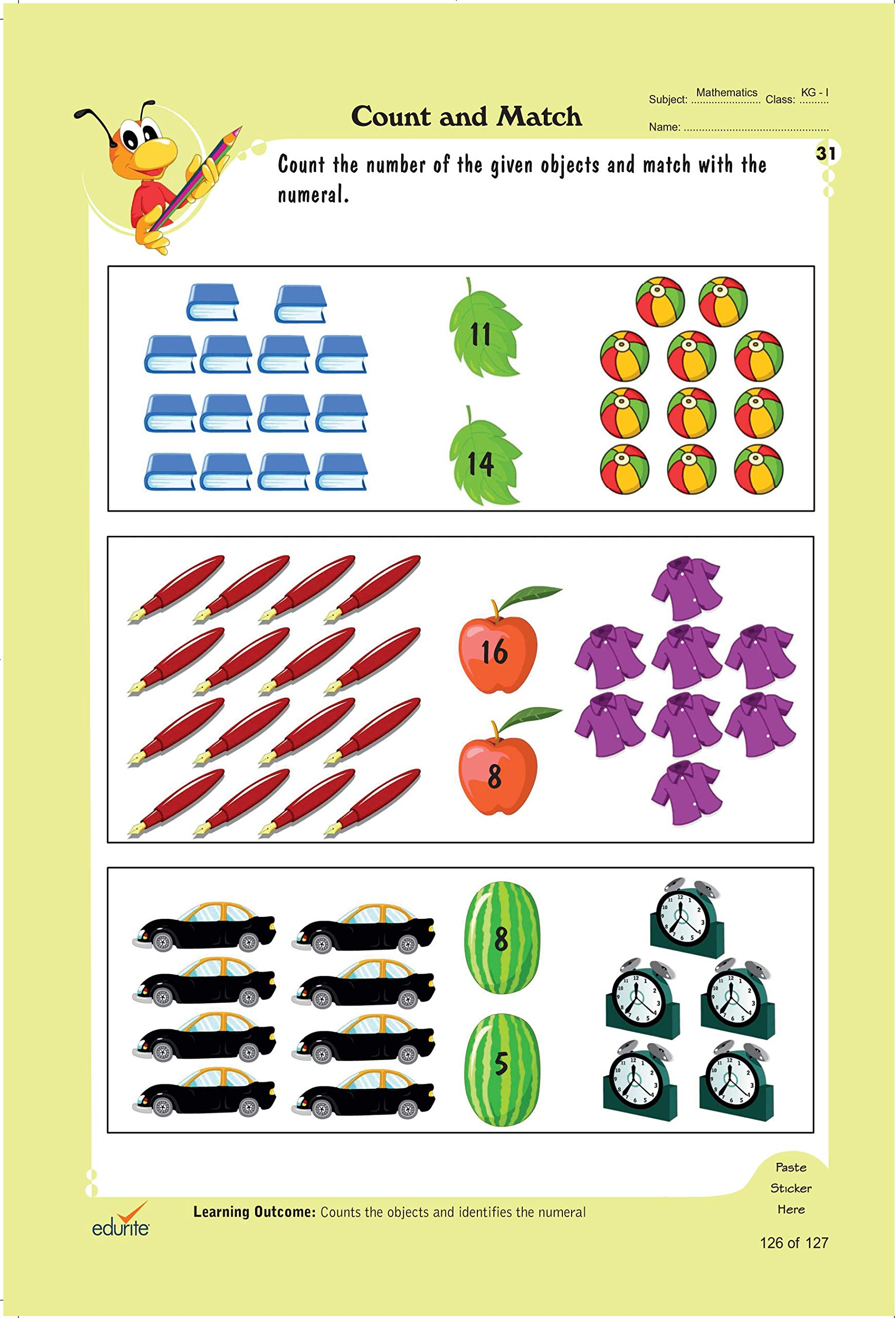 Amazon.in: Buy Edurite's Worksheets of Maths for LKG (KG 1 ...