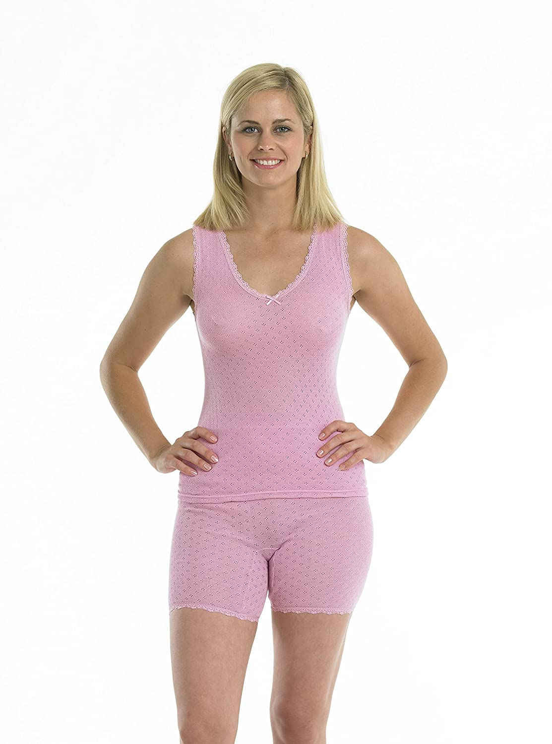 Vedonis Brushed Thermal Lace Edged Pantee M//L//XL Wht Blk Pink