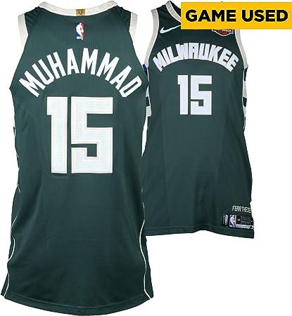 71ab0edaf616 Shabazz Muhammad Milwaukee Bucks Game-Used  15 Green Jersey vs. Boston  Celtics During