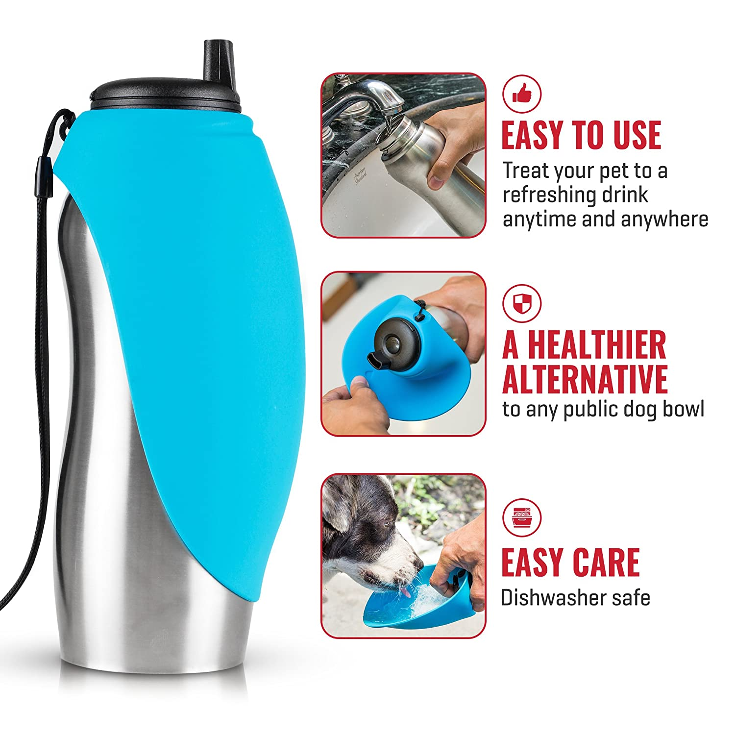PupFlask Portable Water Bottle For Walking | 24 OZ Stainless Steel | Convenient Dog Travel Water Bottle Keeps Pup Hydrated - bottle-with-bowl