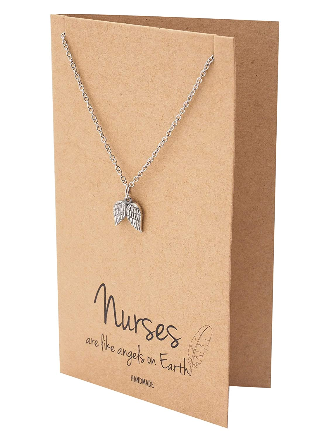 Doctors Quan Jewelry Nurse Necklace Handcrafted Angel-Wings Pendant RN Pre-Med Students Presents for Nurses Thank you Appreciation Graduation Gift Ideas Friendship Necklace Healthcare Workers