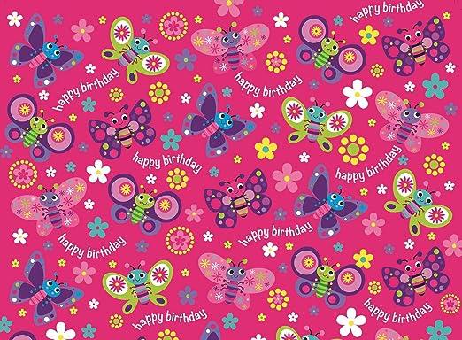 Papel de envolver para cumpleaños, rosado y lila, para niña ...