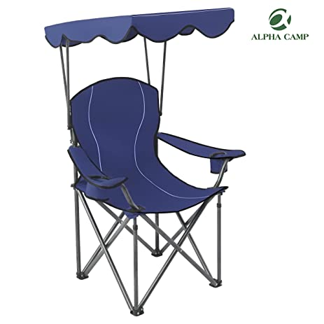 ALPHA CAMP Portable Camping Chair Folding Quad With Adjustable Shade Canopy And Carry Bag Navy