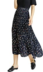 a9cd8eb2c2 Tronjori Womens Maxi Skirt with Pleat and Elastic Waistband