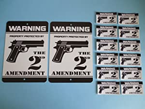 2 Warning Property Protected by The 2nd Amendment Gun Home Security Yard Signs & 12 Window Stickers - Stock # 723