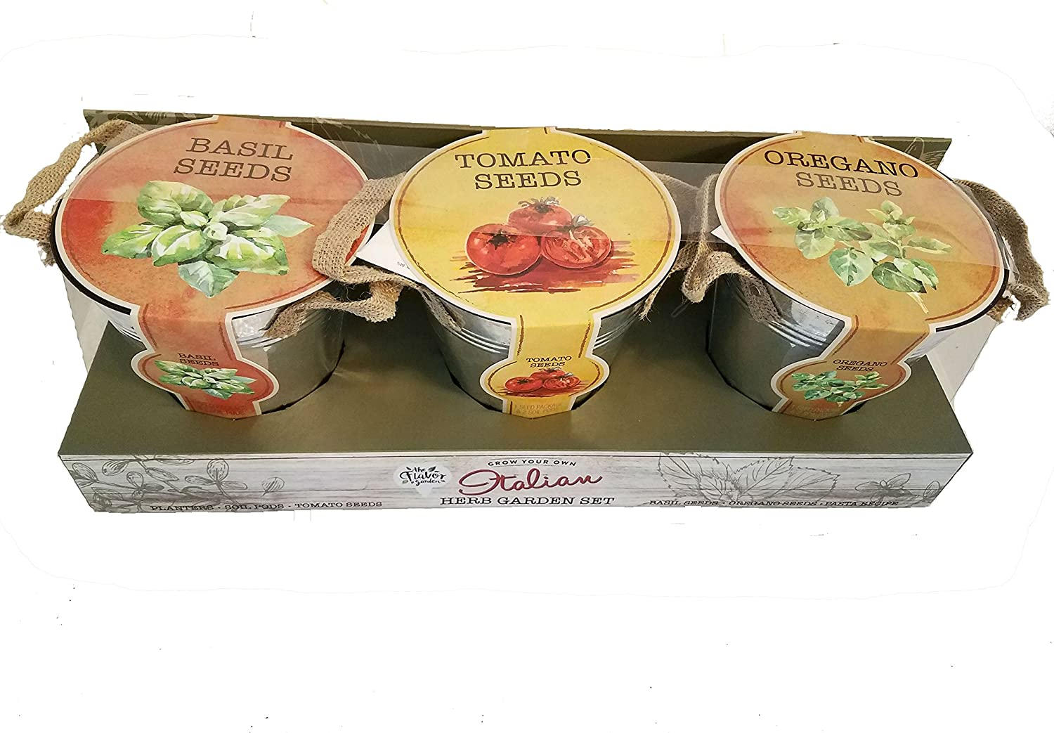 Italian Herb Garden Set Includes 3 Tin Buckets Planters, Basil, Oregano, and Tomato Seeds with Soil Pods. By Modern Gourmet Foods