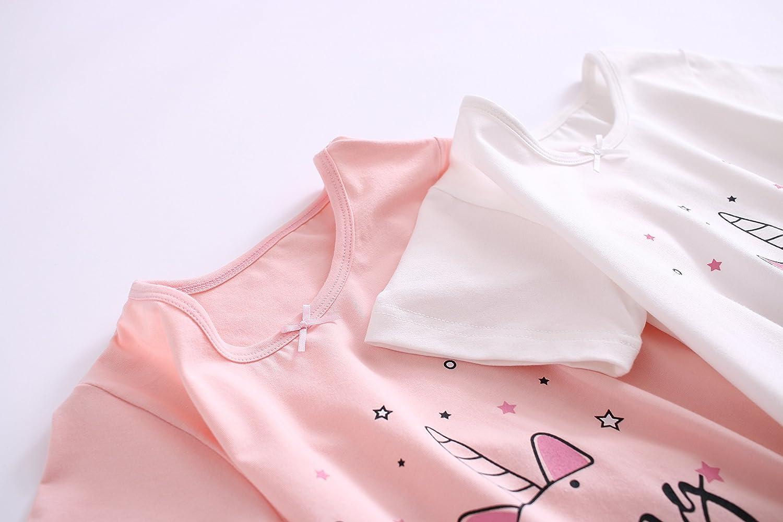 BLOMDE Unicorno Ragazze Camicie da Notte Cotone Pigiami e Vestaglie per 3-12 Anni