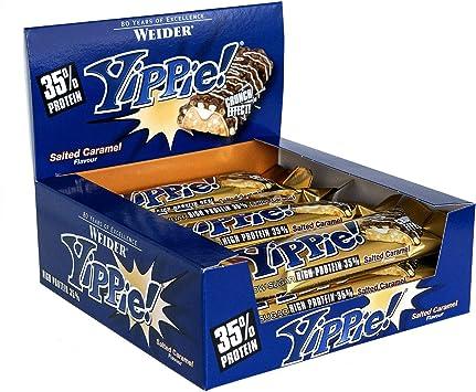 Weider Yippie Bar. Barrita de Proteína 36%. Bajo contenido en Carbohidratos y Azúcares. Sabor Caramelo salado (12x70 g)