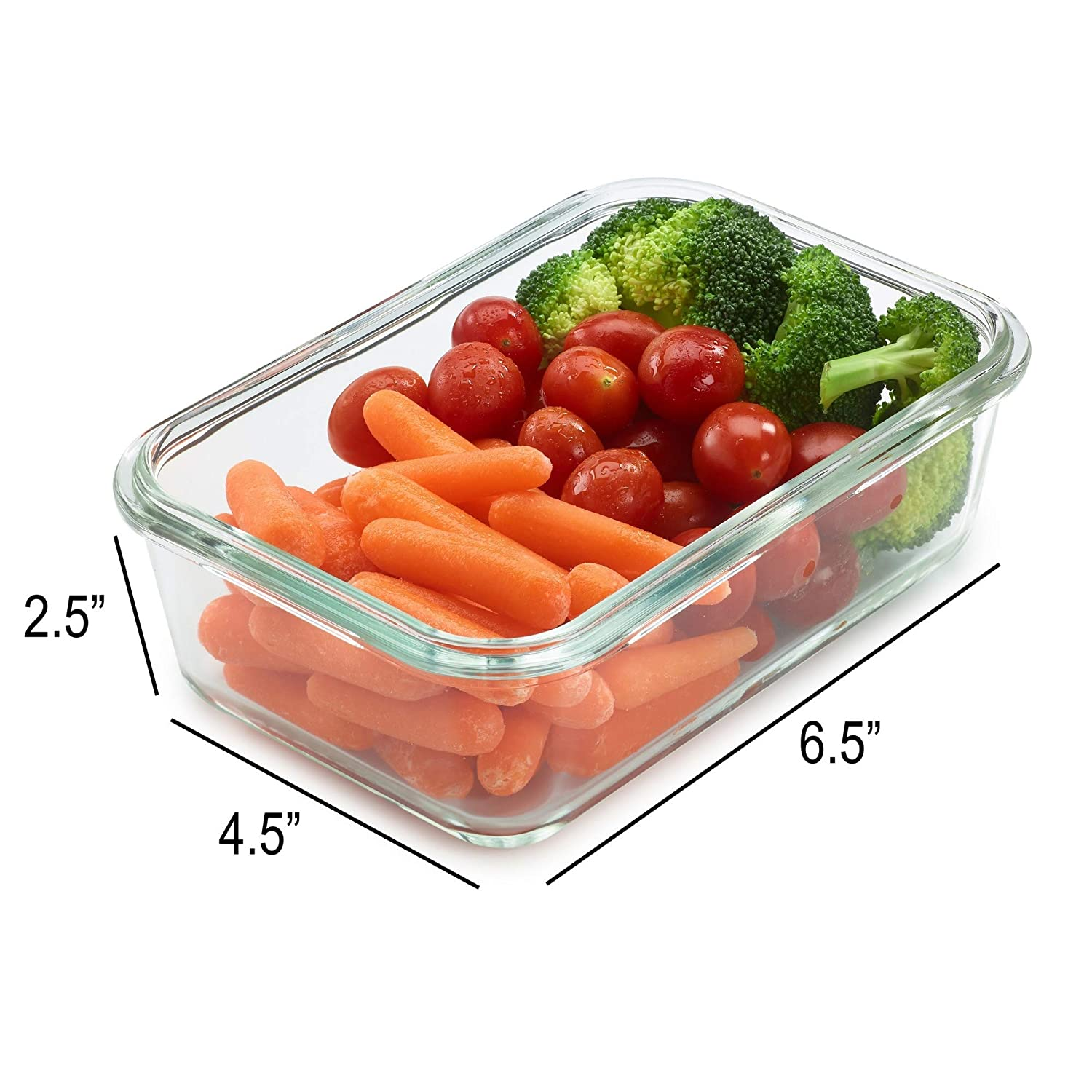 UberChef Professional Glass Meal Prep Containers - 8 Pack Glass Lunch Containers with Lids - Leak Resistant BPA Free Lids - Perfect Meal Prep Container - Simple Food Prep Containers