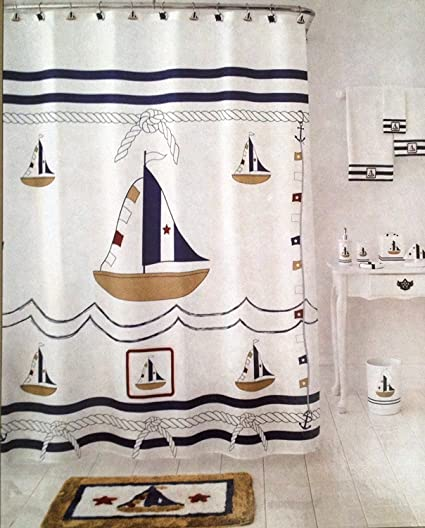 Amazon Homewear Sail Away Fabric Shower Curtain 70in X 72in