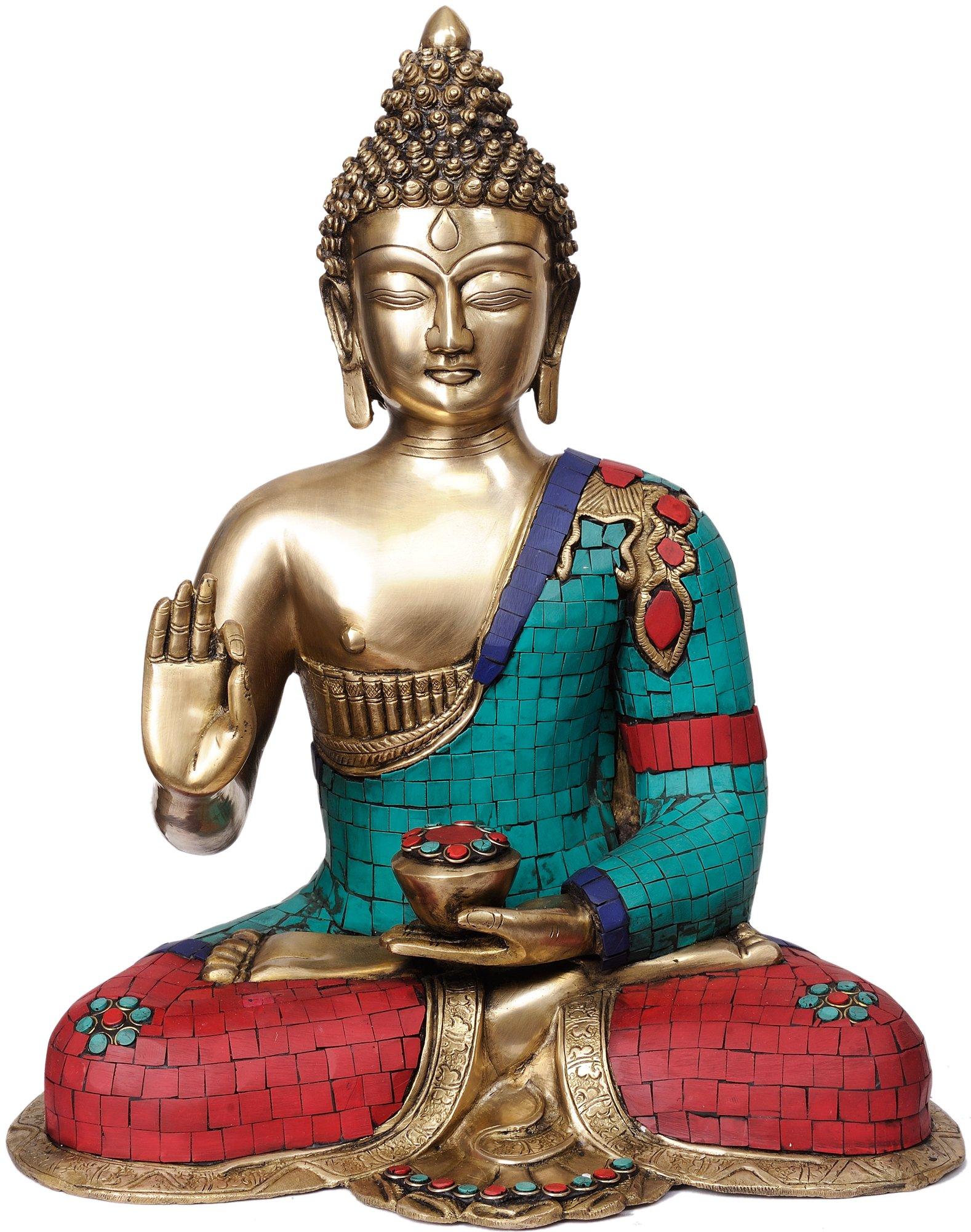 Preaching Buddha (with Fine Inlay Work) - Brass Statue
