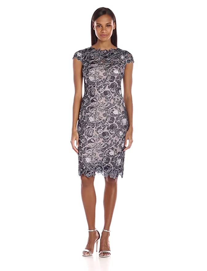 e2594a66 Amazon.com: Tadashi Shoji Women's Cap Sleeve Floral Lace Dress: Clothing