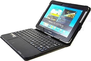 SonnyGoldTech para Samsung Galaxy Note 10.1 – Funda con teclado y Touchpad integrado, Teclado francés (AZERTY)   funda con teclado y Touchpad para ...