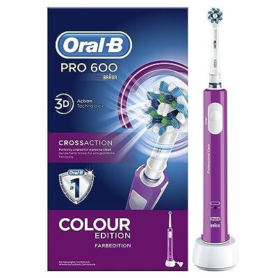 Oral-B PRO 600 CrossAction - Cepillo eléctrico recargable, color morado