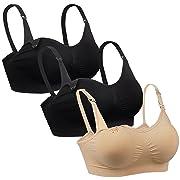 iLoveSIA Womens Full Bust Nursing Bra Seamless Maternity Bra 2 Black 1 Nude Size M