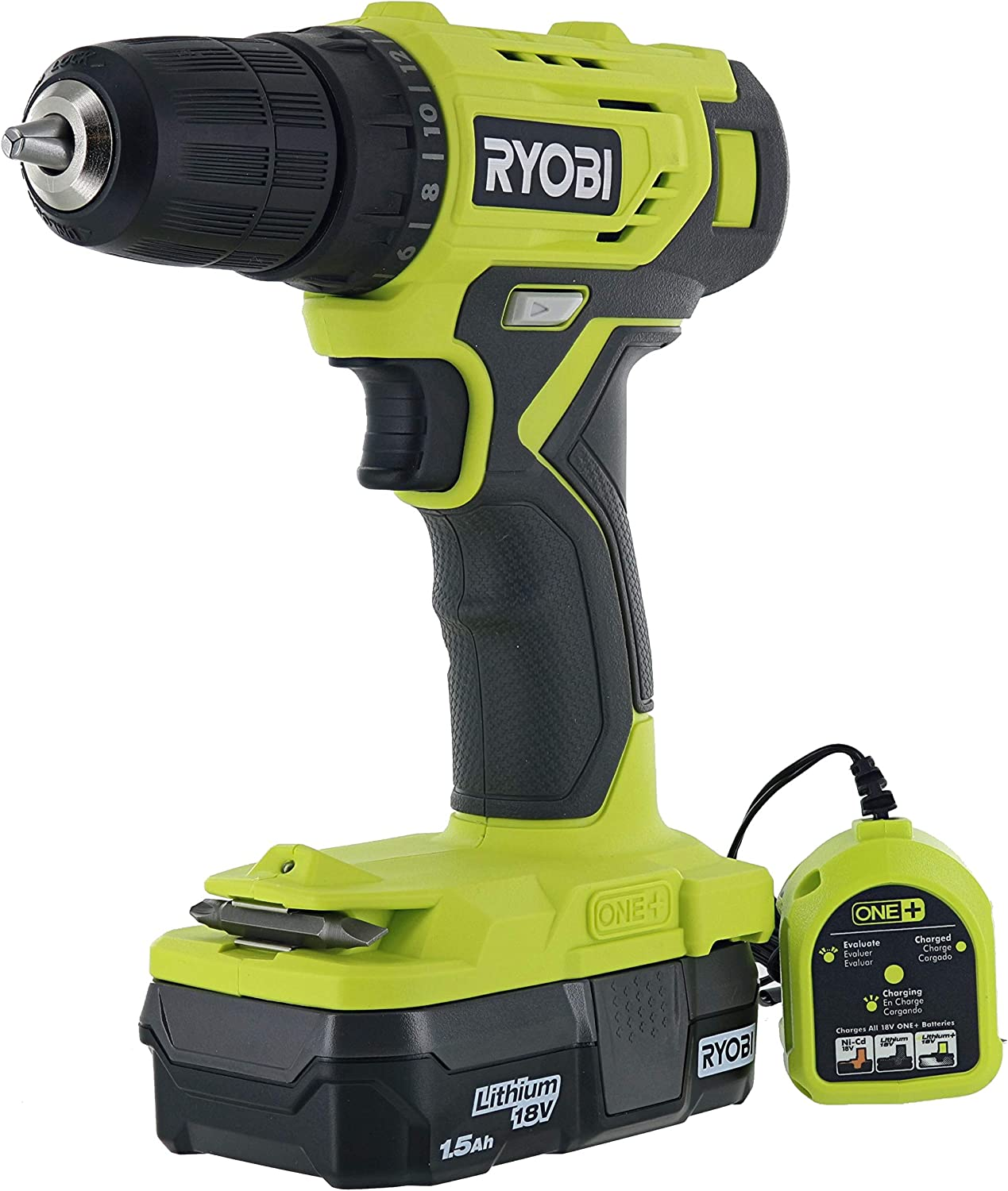NEW Ryobi 18-Volt ONE+ Cordless 3/8 in. Drill/Driver Kit (PDD209K) with 1.5 ah lithium battery and charger