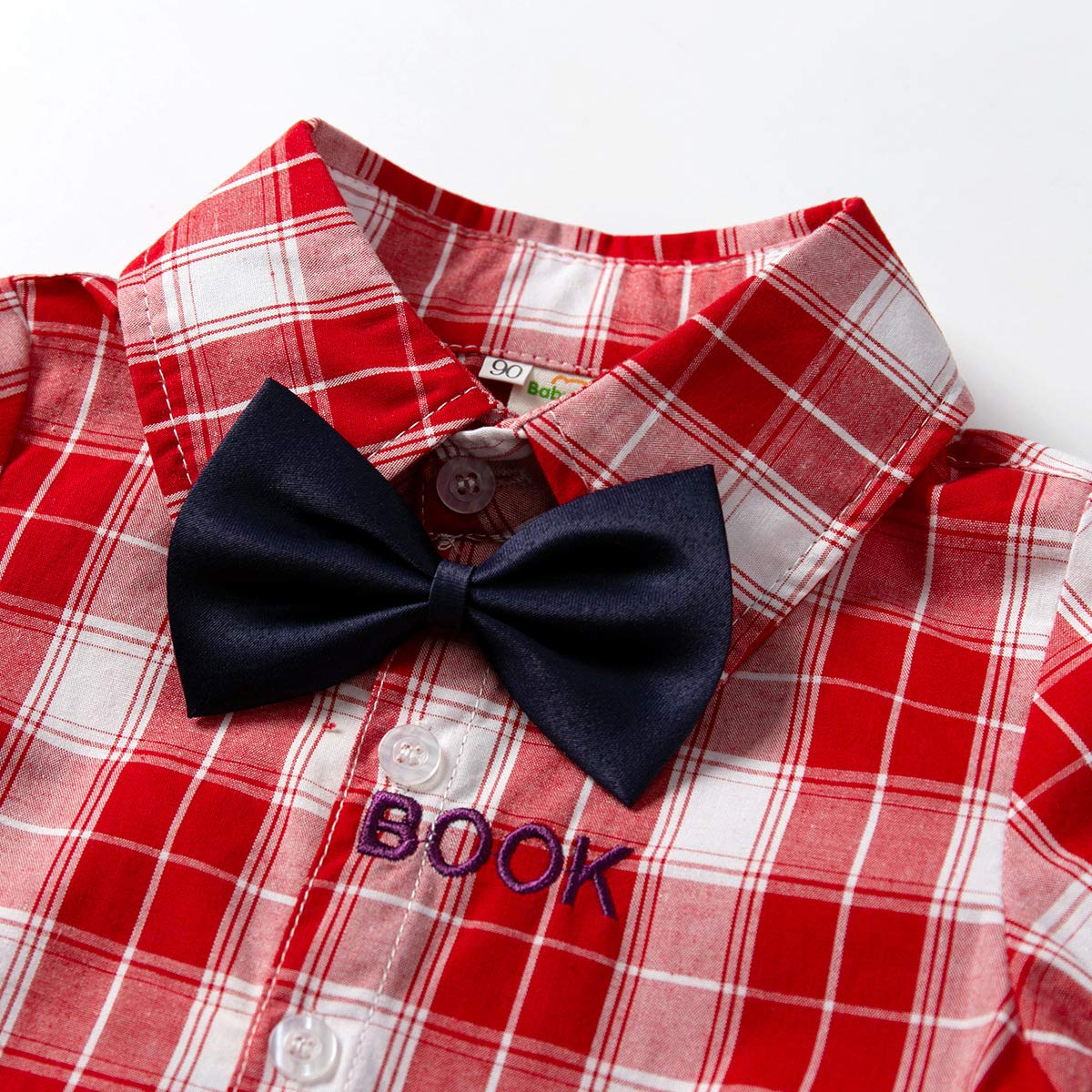 Toddler Baby Boys Plaid Gentleman Bowtie Shirt Suspenders Outfit Suit Set