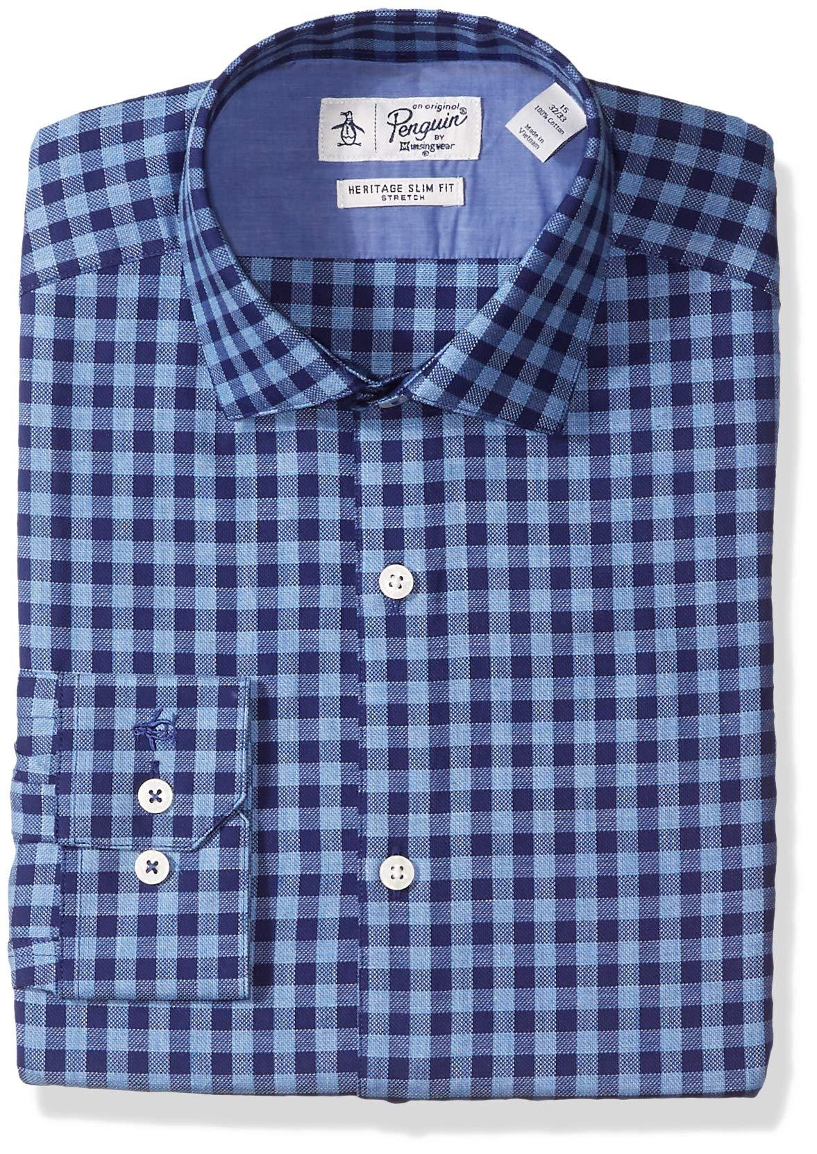 Original Penguin Men's Slim Fit Stretch Gingham Dress Shirt, Blue Gingham, 16 34/35