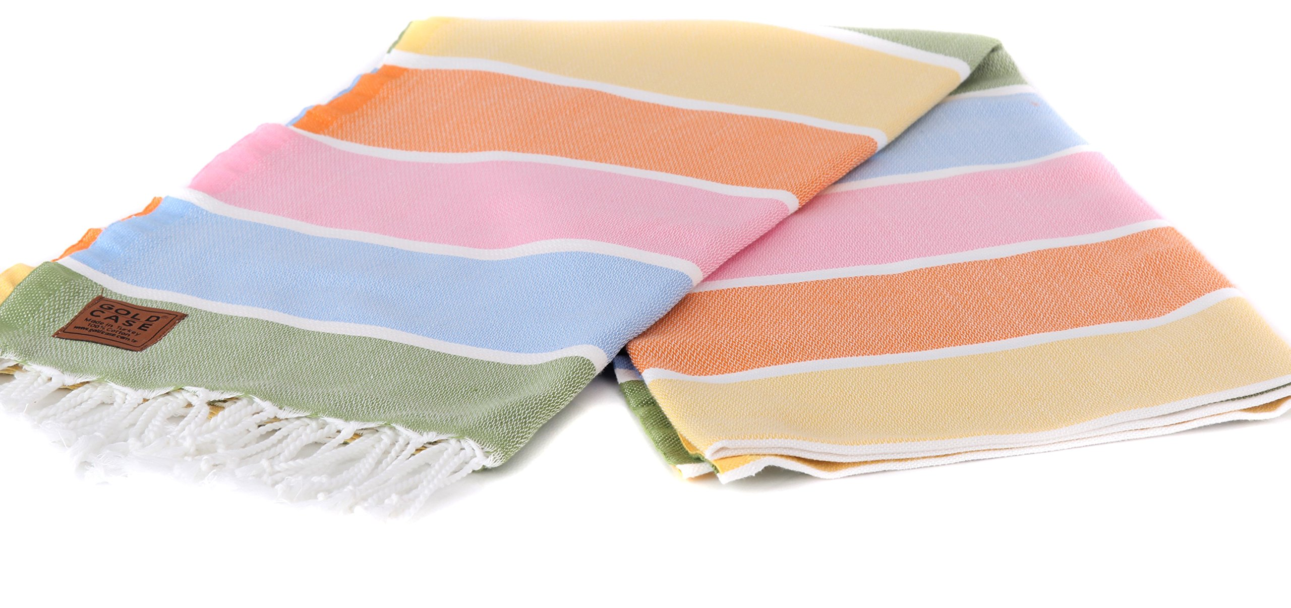Gold Case NYSA pestemal Exclusive Group - Made in Turkey / 100% Cotton - Bath-Beach-Sauna-Hamam-Spa-Yoga-Picnic Turkish Towel - 39x70(100x180cm) Big Size Peshtemal, 1x-Yellow-Orange