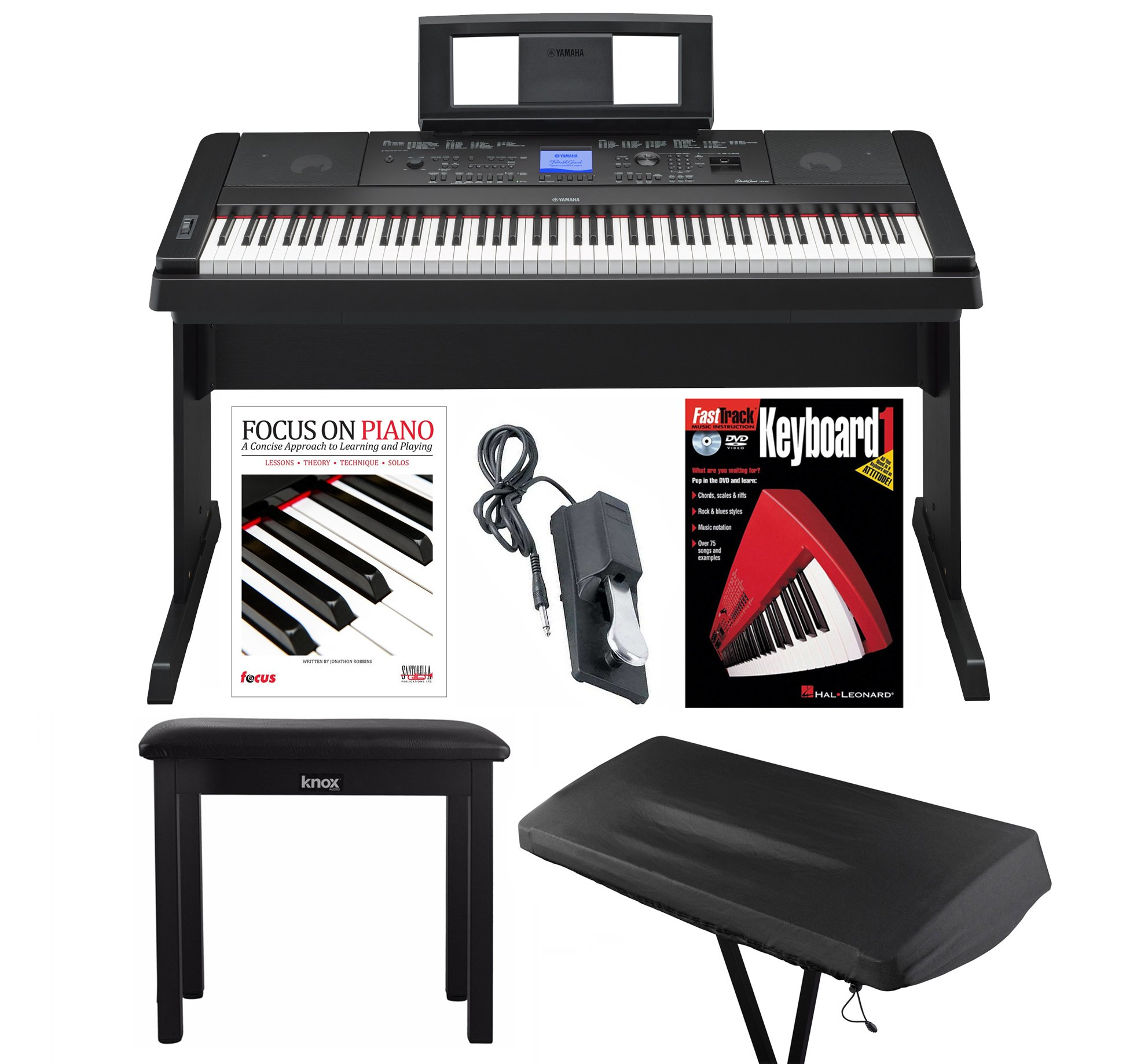 Yamaha DGX660B 88 Weighted Keys Piano with Knox Storage Bench, Dust Cover, Pedal, Book & DVD by YAMAHA