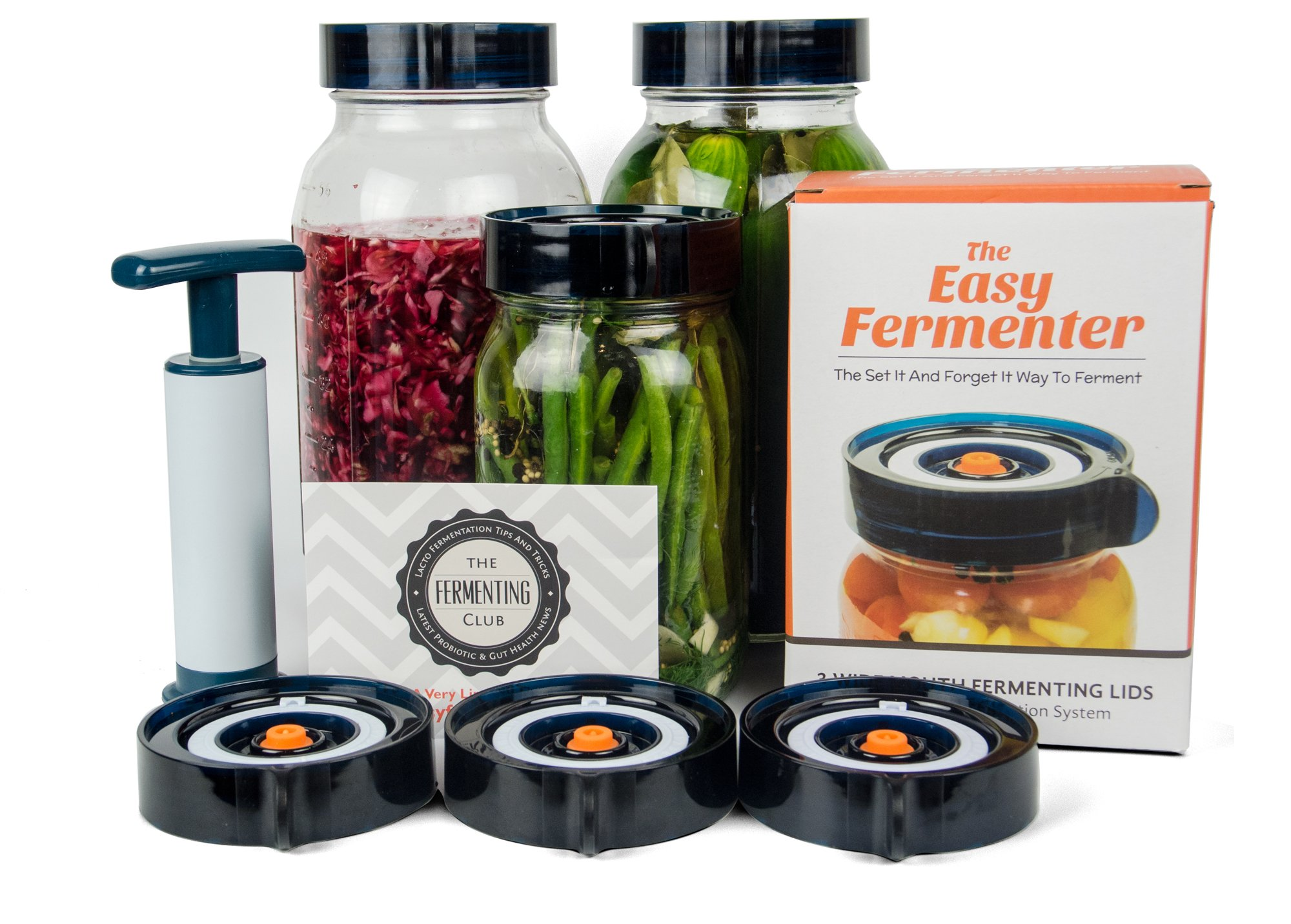 Easy Fermenter Wide Mouth Lid Kit: Simplified Fermenting In Jars Not Crock Pots! Make Sauerkraut, Kimchi, Pickles Or Any Fermented Probiotic Foods. 3 Lids, Extractor Pump & Recipe eBook - Mold Free by Nourished Essentials (Image #1)