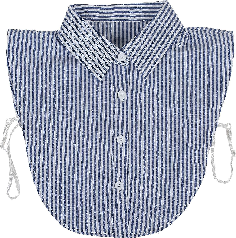 styleBREAKER Cuello de Blusa con Tapeta de Botones y Lazo, Cuello para Blusas y jerséis, Blusa de Nudo corredizo señora 08020003, Color:Azul Marino-Blanco: Amazon.es: Ropa y accesorios