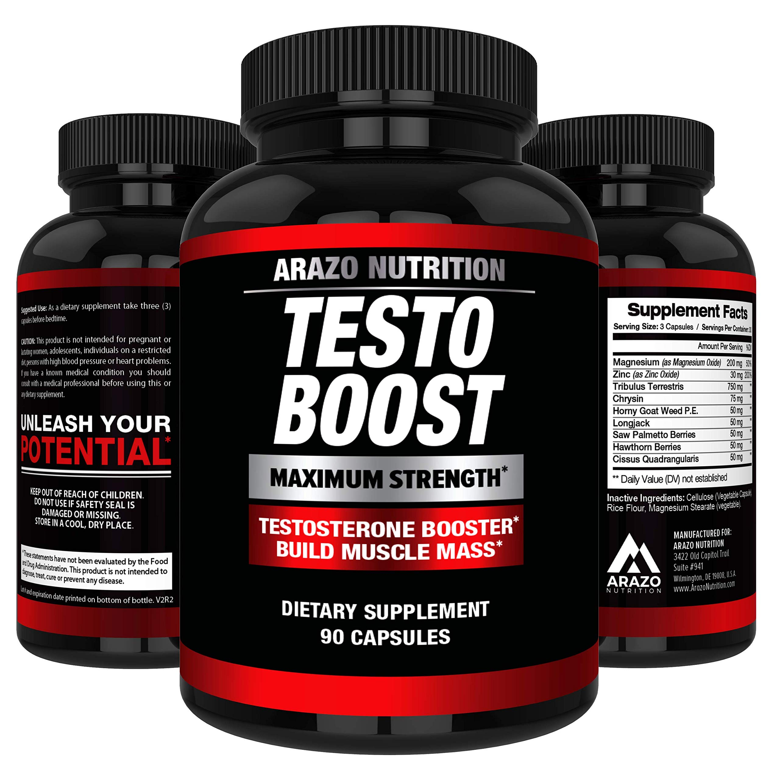 TESTOBOOST Test Booster Supplement   Potent & Natural Herbal Pills   Boost Muscle Growth   Tribulus, Horny Goat Weed, Hawthorn, Zinc, Minerals  Arazo Nutrition USA