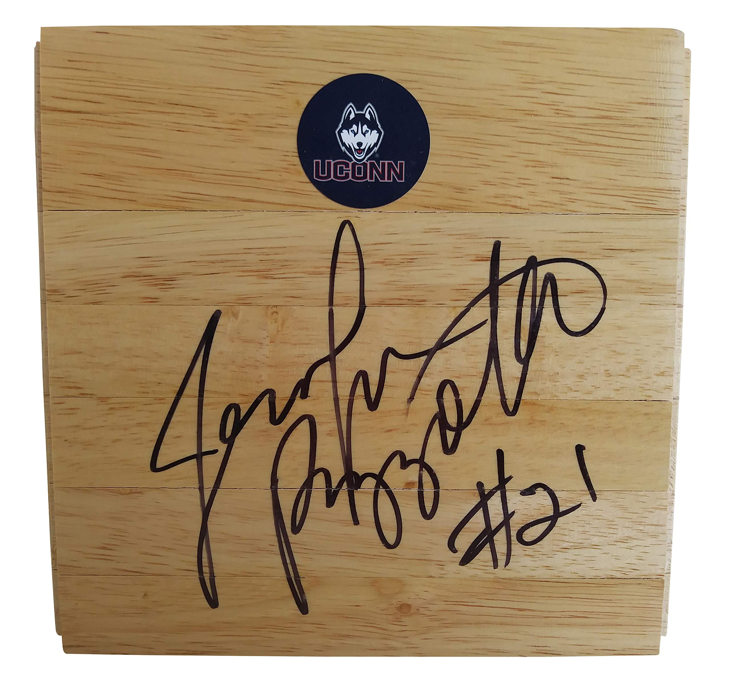 UConn Huskies Jennifer Rizzotti Autographed Hand Signed 6x6 Parquet Logo Floorboard with Proof Photo, Team USA, Houston Comets, Cleveland Rockers, George Washington Generals Basketball Floor Boards
