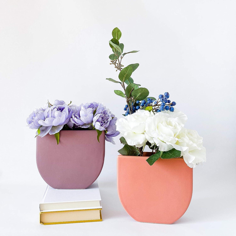 Amazon Com Rhapsody Studio Ceramic Vases For Flowers Set Of 2 Half Round Violet And Half Round Tea Rose Aesthetic Room Decor Boho Indoor Home Decoration Living Room Decor Bathroom Office Desk Modern Vase Gift Kitchen