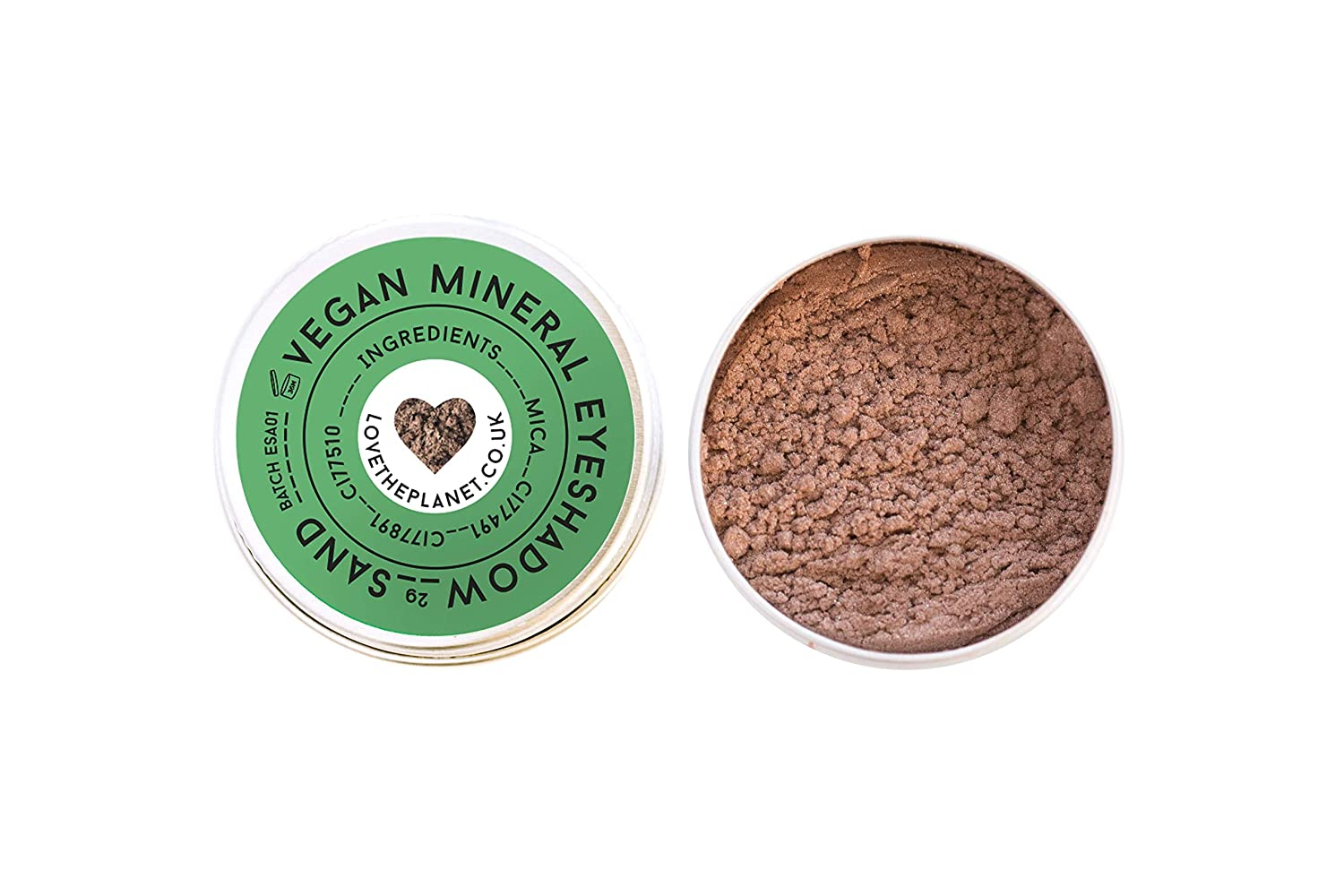Love the Planet Vegan Mineral Eyeshadow Shade Sand in Refillable Tin