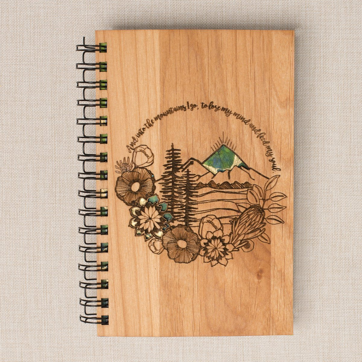 Mountains - Laser Cut Handmade Hand-Bound Wood Bullet Journal. Personalized