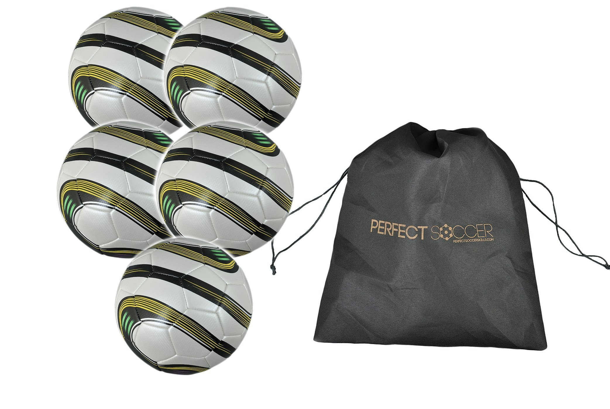 Soccer Training Ball - Premium Adult & Youth Soccer Ball w Free Carrying Bag & - MLS Soccer Player Endorsed - Plus Over $497 in Online Soccer Training Bonuses! (Pack of 5)