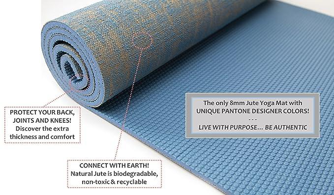 Flores vida Natural Yute Cable de Premium esterilla de yoga ...
