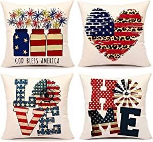 auqidow 4th of July Pillow Covers 18x18 Set of 4 Farmhouse Pillow Cover for American Independence Day Memorial Patriotic Farmhouse Decor Pillow Shams Holiday Throw Cushion Case for Home Couch